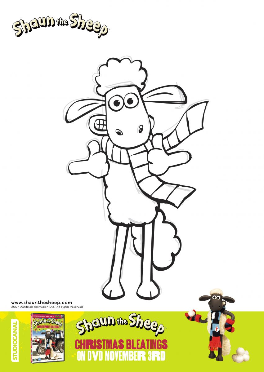 Shaun Sheep Christmas Bleatings Colouring Sheets