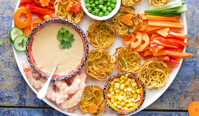 Noodle baskets with a peanut sauce